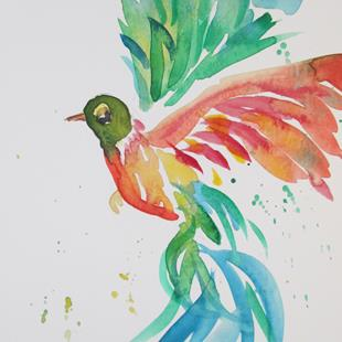 Art: Wild with Color Hummingbird by Artist Delilah Smith