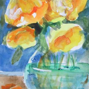 Art: Yellow Flowers in a Vase by Artist Delilah Smith