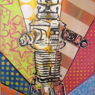 Art: Graffiti Pop Art Robbie the Robot by Artist Paul Lake, Lucky Studios