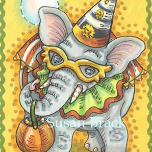 Art: ELEPHANTS NEVER FORGET HALLOWEEN by Artist Susan Brack
