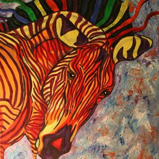 Art: Birth of Celestial Zebra by Artist Kim Loberg