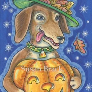 Art: DOXIE AND PUMPKIN by Artist Susan Brack