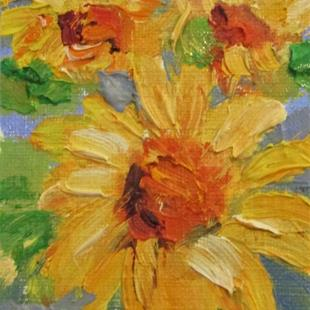 Art: Aceo Three Sunflowers by Artist Delilah Smith
