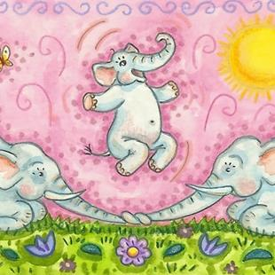 Art: ELEPHANTS JUMP ROPE by Artist Susan Brack
