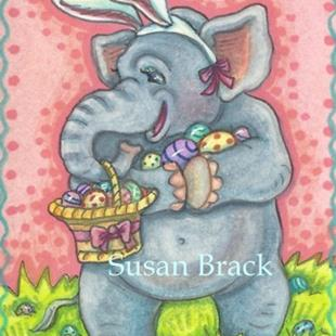 Art: ELEPHANTS NEVER FORGET THE FUN OF AN EASTER EGG HUNT by Artist Susan Brack