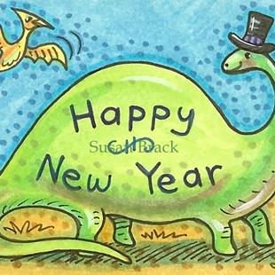 Art: NEW YEAR B.C.  Dino by Artist Susan Brack
