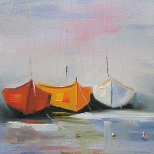 Art: Three Sailboats by Artist Delilah Smith
