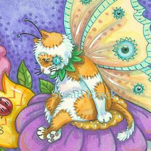 Art: CONTEMPLATION  Cat Fairy by Artist Susan Brack