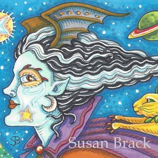 Art: SPACE WITCH AND COMET CAT by Artist Susan Brack