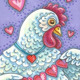 Art: HEN AND PAPER HEARTS by Artist Susan Brack