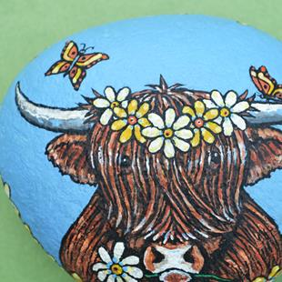 Art: Highland Cow & Butterflies by Artist Melinda Dalke