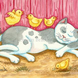 Art: CAT NAP IN THE BARNYARD by Artist Susan Brack
