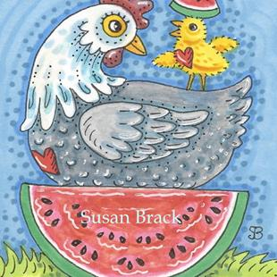 Art: WATERMELON CHICK AND HEN by Artist Susan Brack