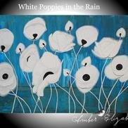 Art: White Poppies in the Rain (sold) by Amber Elizabeth Lamoreaux