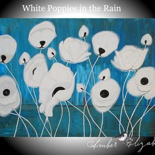 Art: White Poppies in the Rain (sold) by Artist Amber Elizabeth Lamoreaux