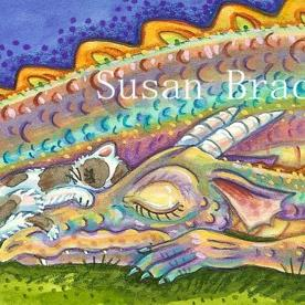 Art: CAT NAP WITH A DRAGON by Artist Susan Brack