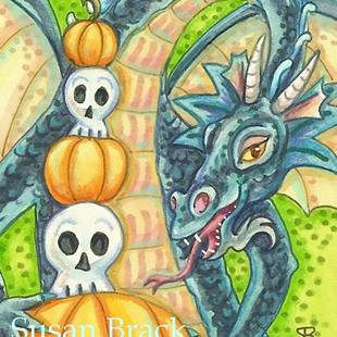 Art: DRAGON'S HALLOWEEN DECOR by Artist Susan Brack