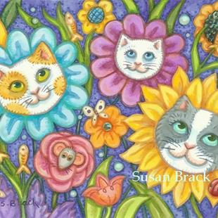 Art: KITTIES' GARDEN Flowers by Artist Susan Brack