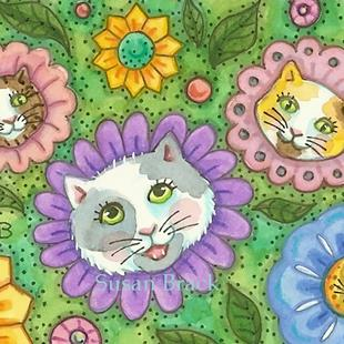 Art: KITTENS IN THE GARDEN by Artist Susan Brack