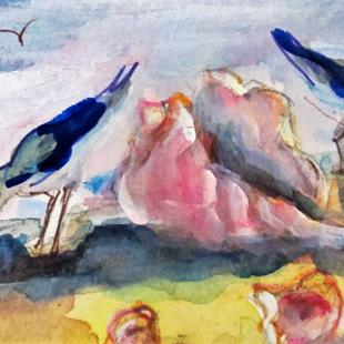 Art: Seashell and Sea Birds aceo by Artist Delilah Smith