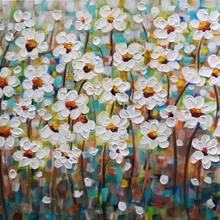 Art: DAISY FLOWERS by Artist LUIZA VIZOLI
