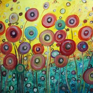 Art: POPPY RAIN FLOWERS by Artist LUIZA VIZOLI