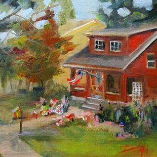Art: House with Flag and Flowers by Artist Delilah Smith