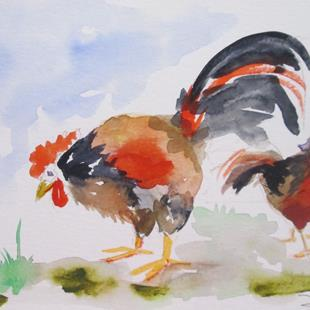 Art: Chickens No.5 by Artist Delilah Smith