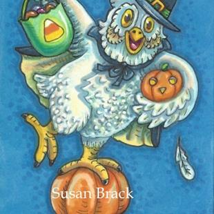 Art: TRICK OR TREAT SMELL MY FEET Owl by Artist Susan Brack