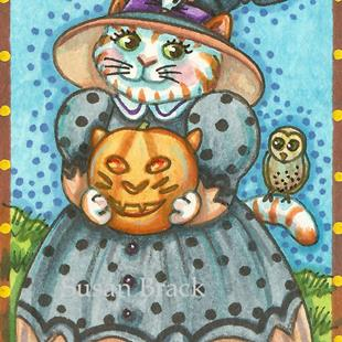 Art: HALLOWEEN OWL AND PUSSYCAT by Artist Susan Brack