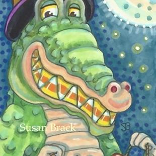 Art: CANDY CORN CROC by Artist Susan Brack