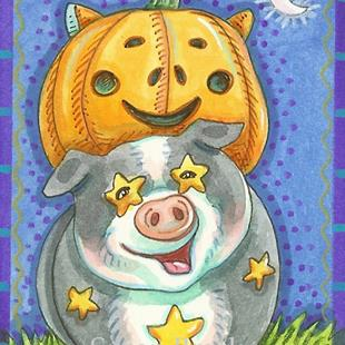 Art: PIGGY'S PUMPKIN by Artist Susan Brack