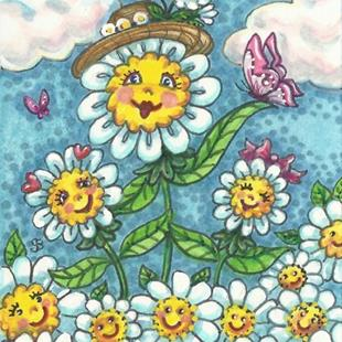 Art: HAPPY DAISIES ARE HERE AGAIN Whimsy by Artist Susan Brack