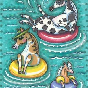 Art: PONIES FLOAT AT THE CHINCOTEAGUE WATER PARK by Artist Susan Brack