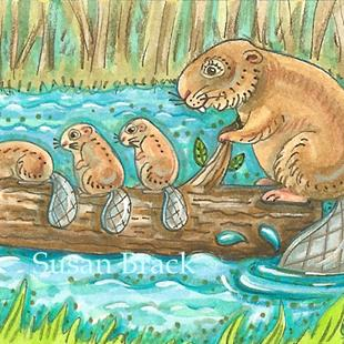 Art: BEAVERS ON THE RIVER by Artist Susan Brack