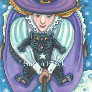 Art: OVER THE MOON WITCH AND SCAREDY CAT by Artist Susan Brack