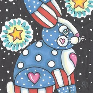 Art: BUNNIES ARE TRUE TO THE RED WHITE AND BLUE by Artist Susan Brack