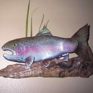 Art: Trout art, steelhead art, steelhead carving, trout art by Artist Leonard G. Collins
