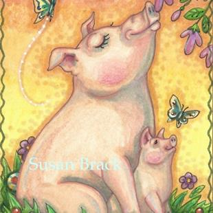Art: SOW AND PIGLET by Artist Susan Brack