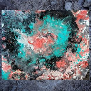 Art: Mint Coral Harmony (sold) by Artist Amber Elizabeth Lamoreaux