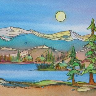 Art: Cabin Life (sold) by Artist Kathy Crawshay