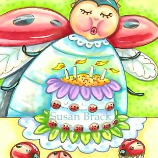 Art: BIRTHDAY WISHES AND LADYBUG CUPCAKES by Artist Susan Brack