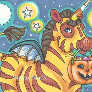 Art: HALLOWEEN BAT WING ZEBRA by Artist Susan Brack