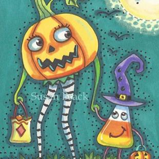 Art: JACK AND CANDY TRICK OR TREATING by Artist Susan Brack