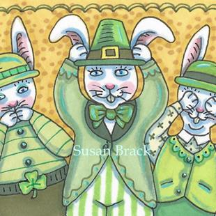 Art: LEPRECHAUN RABBITS SEE NO EVIL by Artist Susan Brack