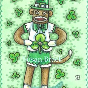 Art: LEPRECHAUN SOCK MONKEY by Artist Susan Brack