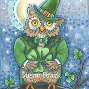 Art: LUCK TO THOSE WHOOO FIND A FOUR LEAF CLOVER by Artist Susan Brack