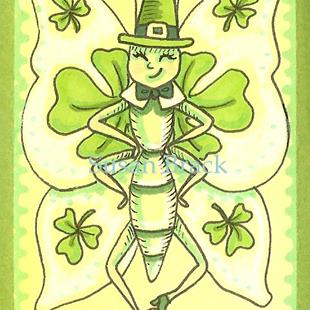 Art: SMILES ARE FREE LEPRECHAUN BUTTERFLY by Artist Susan Brack