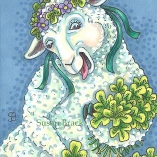 Art: EWE PICKING SHAMROCKS by Artist Susan Brack