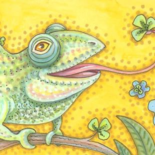 Art: GREEN AS AN IRISH CHAMELEON by Artist Susan Brack